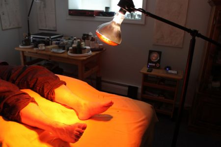 Infrared light with acupuncture at Peaceful Spirit Acupuncture, Ithaca NY
